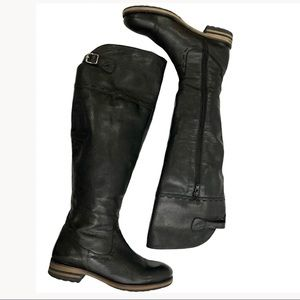 Maddison Knee High Black Leather Boots, 7